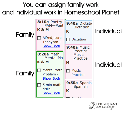Online student assignment planner