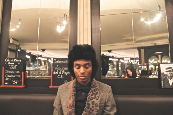 stylish black men, paris cafe, tony triumph, rabbit skin hat, leopard print scarf, french life