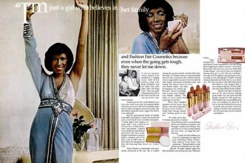 Natalie Cole model for 1970 Ebony Fashion Fair print ad