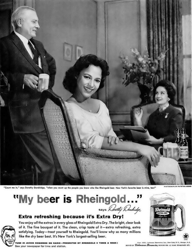 Dorothy Dandridge model photo Rheingold beer print ad