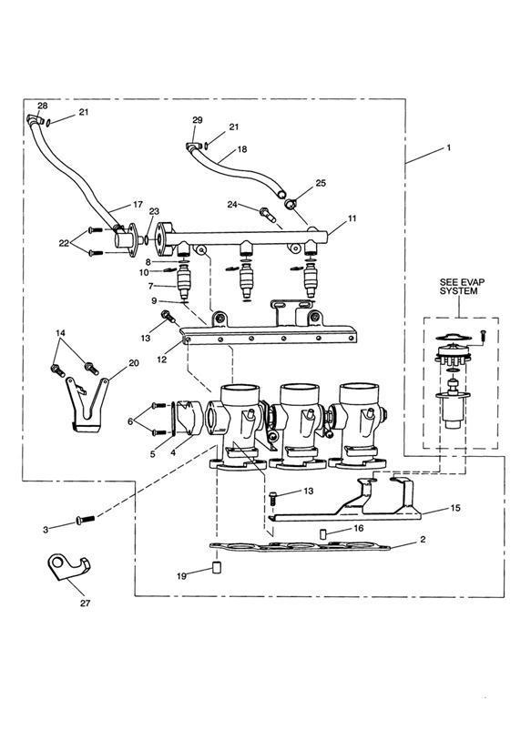 1995 Triumph Trident Gasket, Throttle Body. Fuel, Rail