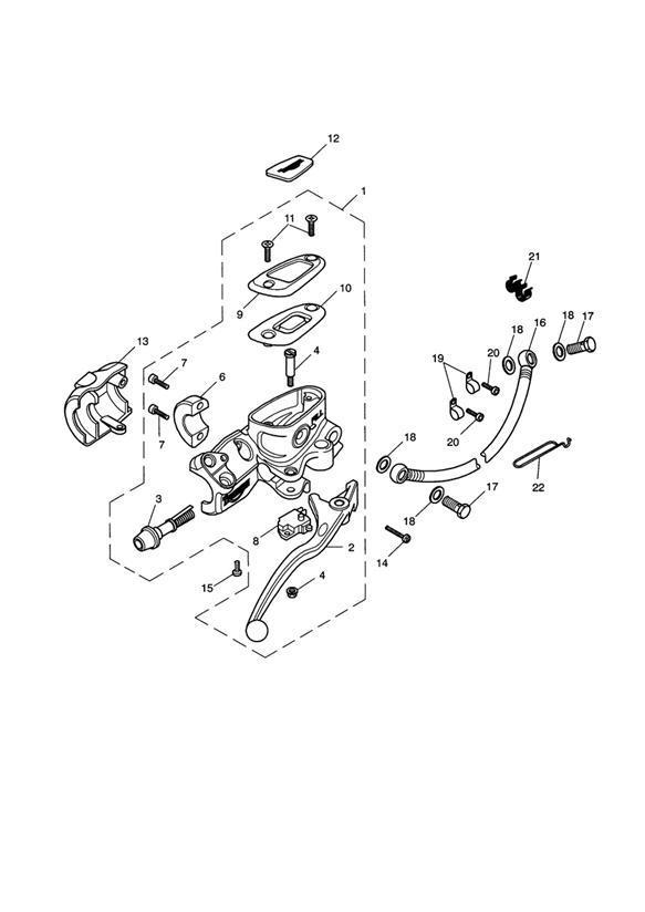 Triumph Bonneville Screw, M6 x 20. Front, Master, Brake
