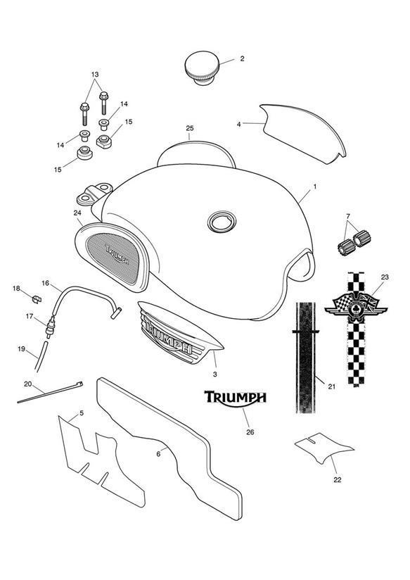 Triumph Thruxton Fuel Tank Spares Assy. Item, Decal