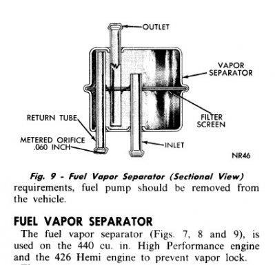 Vapor Separator Fuel filter installation instructions for