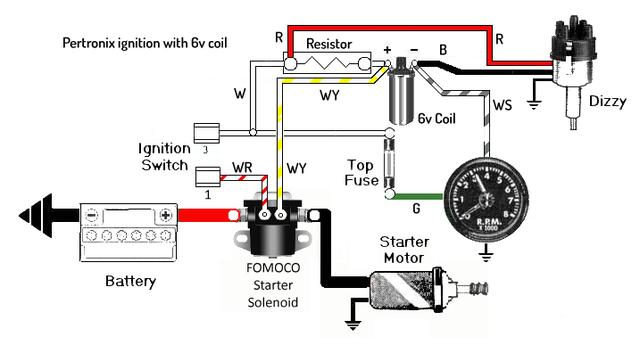 Simplified schematic for Pertronix ignition with 6v coil