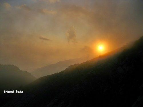 Sun set from Lahesh Cave a head Laka and Glacier
