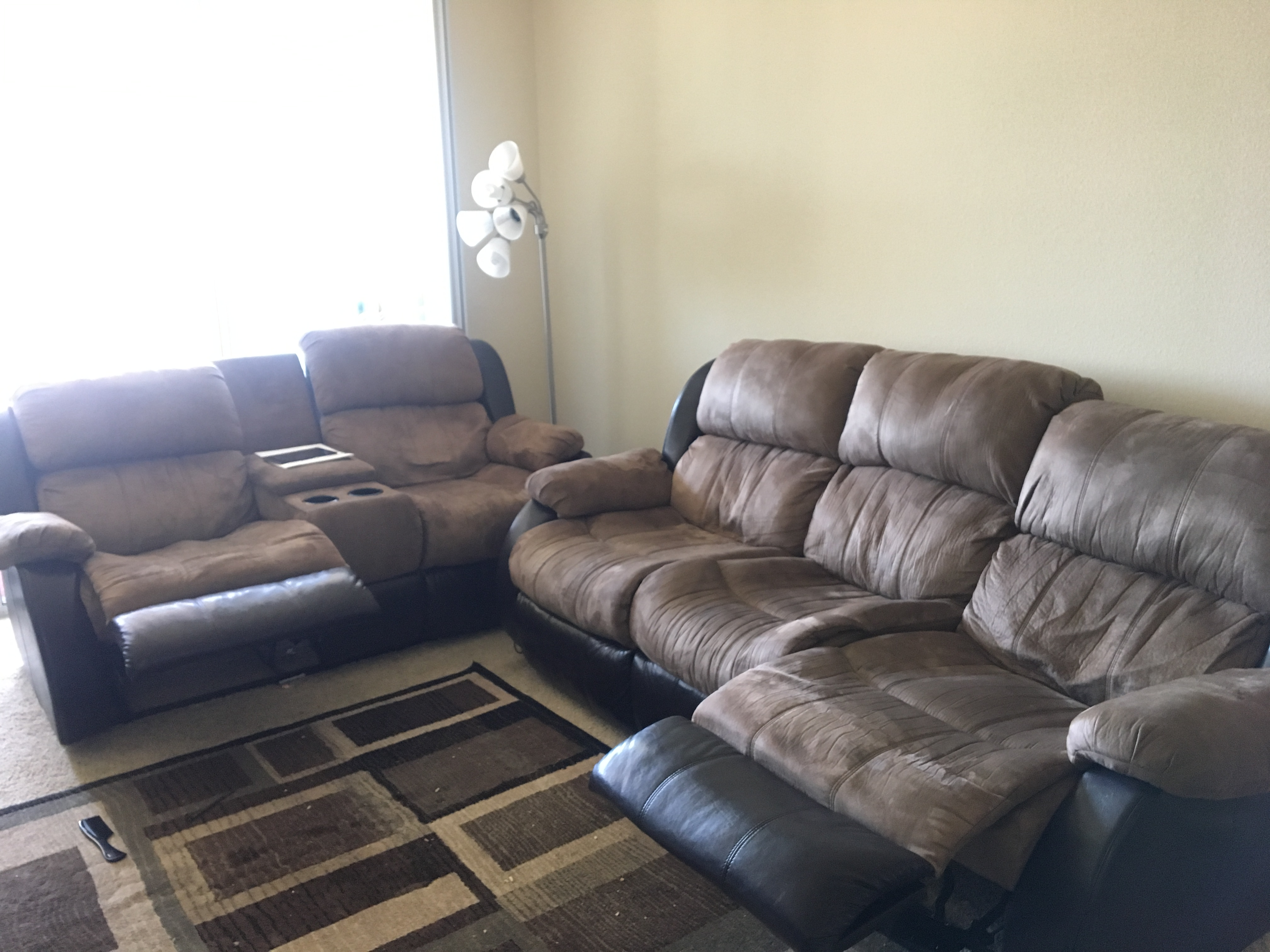 ashley reclining sofa disembly leather and fabric in same room recliner love seat connecting people