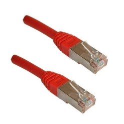 CORDON RESEAU RJ45 M/M ROUGE CAT 5 BLINDÉ 0.50M