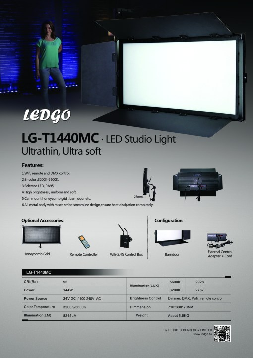 Ultra-matte LEDGO Bi-couleur Studio 144W