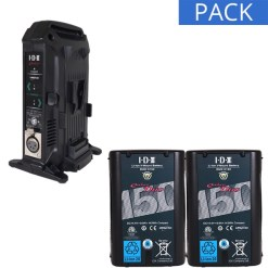 IDX 2 Batteries DUO-C150 & Chargeur VL-2X - Kit Batteries et Chargeur