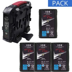 IDX 4 Batteries CUE-D95 & Chargeur VL-4X - Kit Batteries et Chargeur