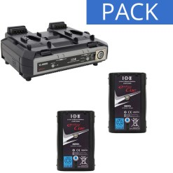 IDX 2 Batteries CUE-D300 & Chargeur VL-2000S - Kit Batteries et Chargeur