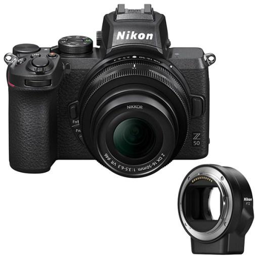 Nikon Z50 avec 16-50mm et Bague d'adaptation FTZ - Appareil Photo avec Objectif