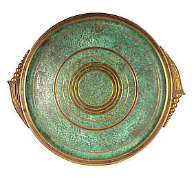 Arts  Crafts Carl Sorensen Round Bronze Cocktail Tray