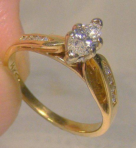 14k Marquise Diamond Engagement Ring 1960s 1970 14 K Size 5 1 2 Item 1355162