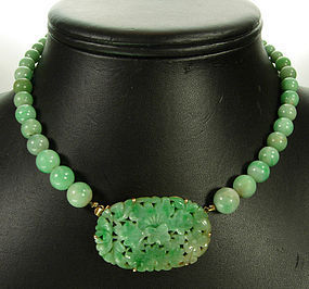 C 1930 Chinese Jade 14KT Gold Carved Beaded Necklace Item