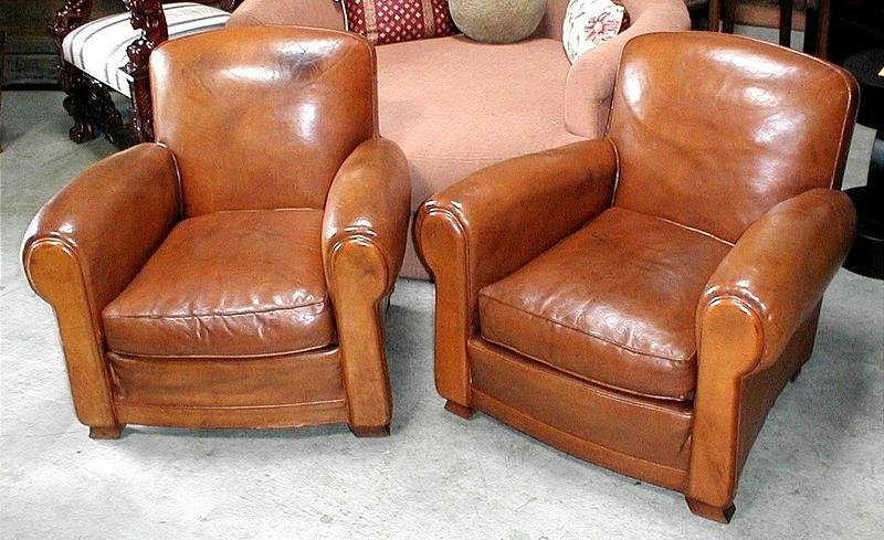 French Leather Club Chairs  Vintage Humpback Pair item
