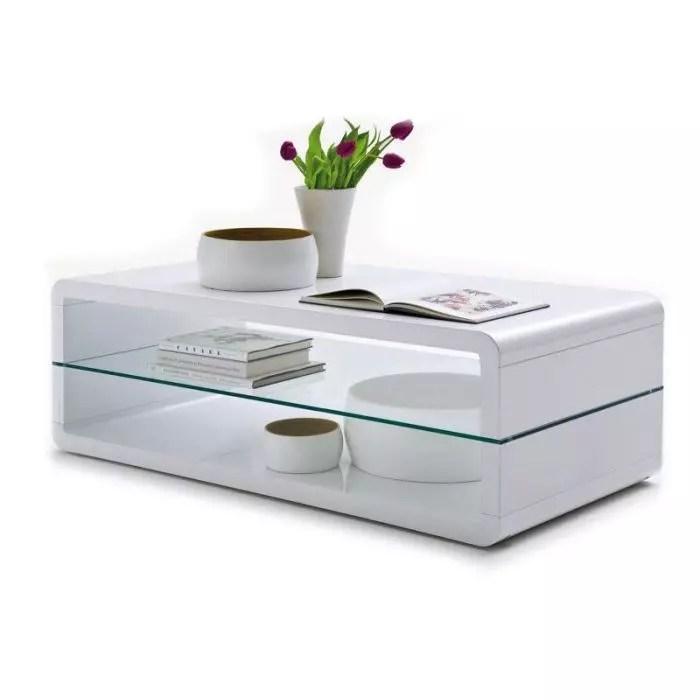 table basse design bords arrondis huelva blanc laque