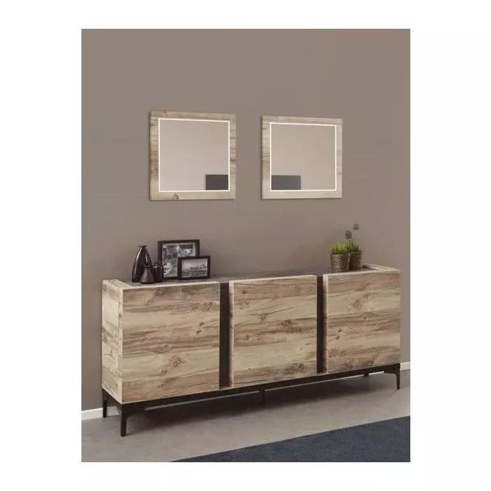 buffet 3 portes design industriel bois et metal noir barosse