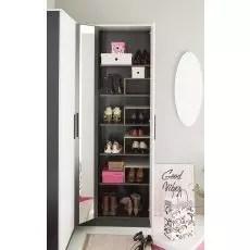 meuble a chaussures d angle 3 portes romu noir et blanc