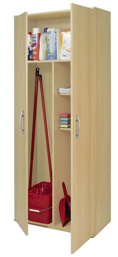 armoire a balai 2 portes bibi chene clair