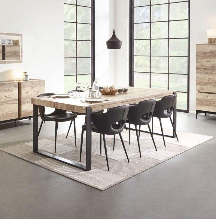 table de salle a manger design industriel 225 cm pieds metal barosse