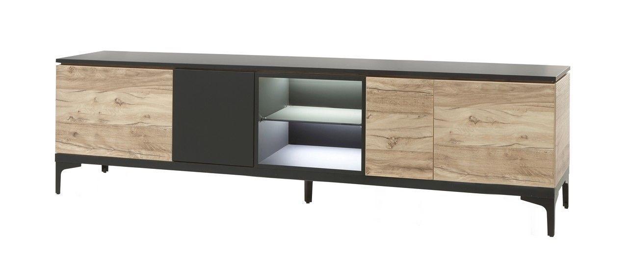 meuble tv contemporain 4 portes 245 cm chene et noir mat kniks