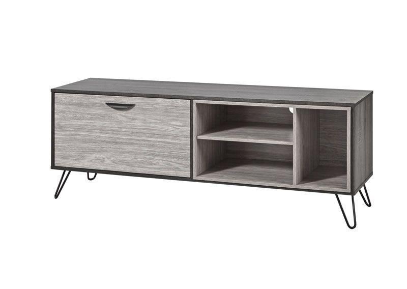 meuble tv style industriel cendres et chene gris viseo 150 cm