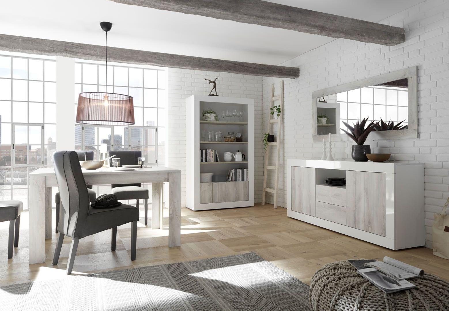 salle a manger complete avec bibliotheque blanc laque et pin blanc charlie