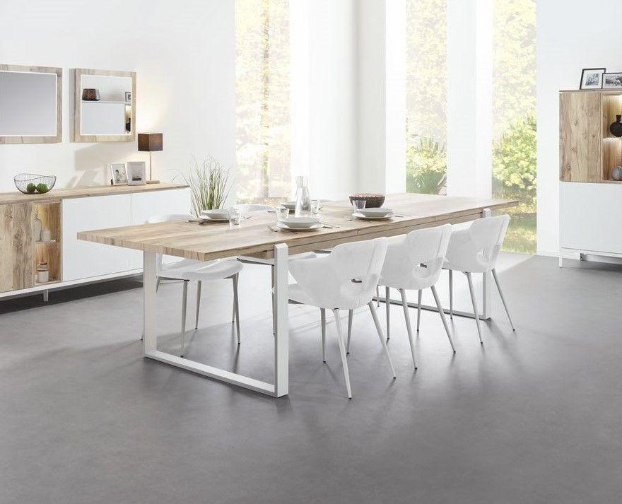 table a rallonge 180 230 cm bois naturel et pieds metal blanc vorane