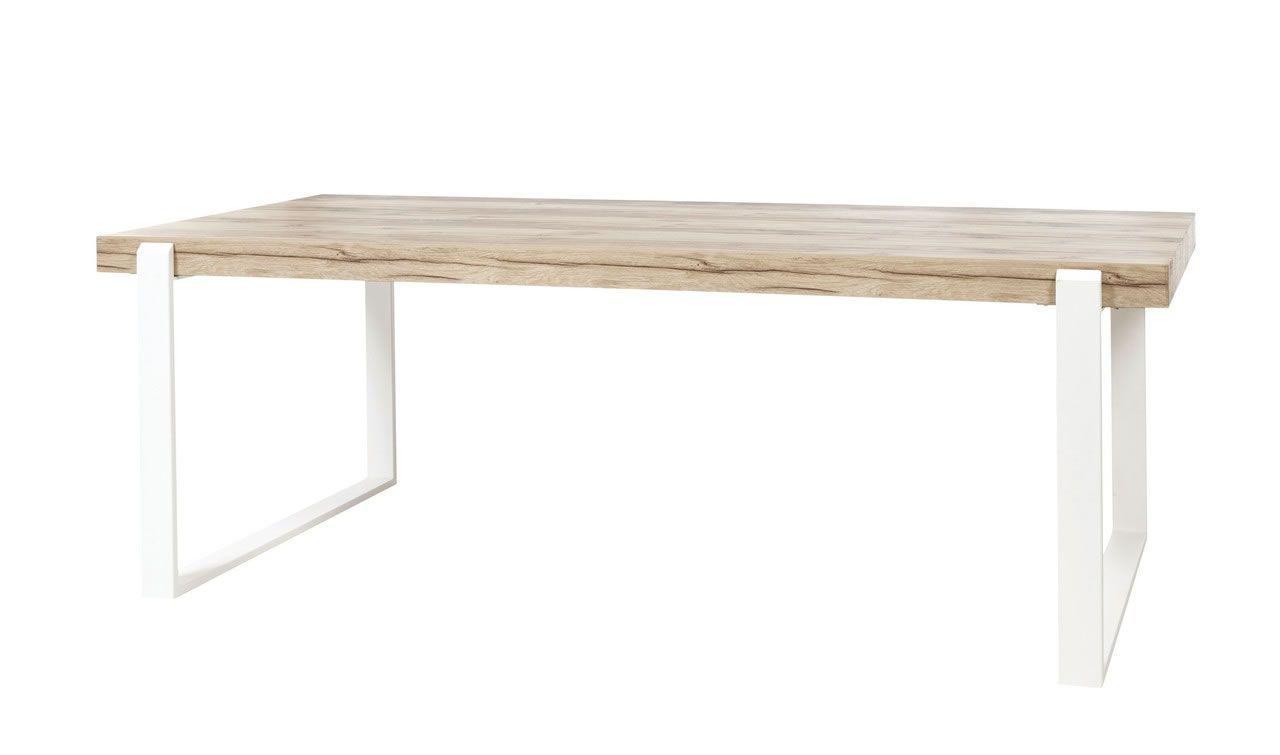 table de salle a manger 180 cm bois naturel et pieds en metal blanc vorane