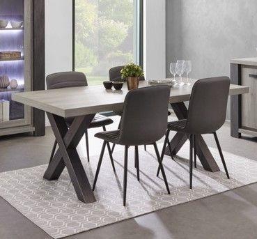 table de salle a manger moderne chene gris lionel 220 cm