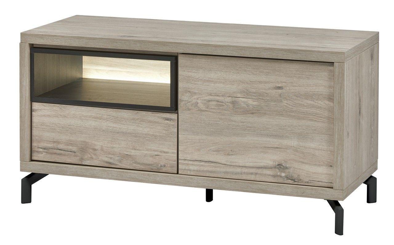 meuble tv contemporain gris clair et noir 1 porte taureau