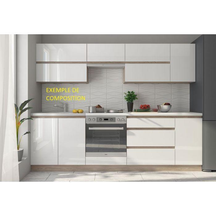 meuble haut de cuisine 1 porte 30 cm blanc brillant linea