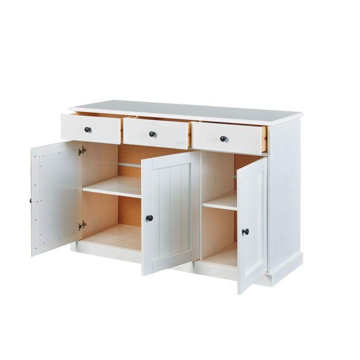 bahut bas rustique 3 portes 3 tiroirs en bois massif western