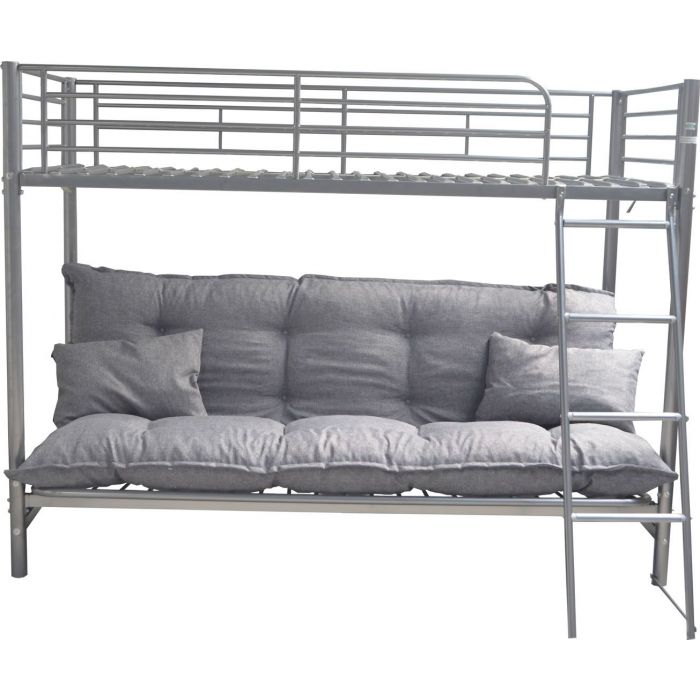 lit superpose en metal gris 1 et 2 places avec futon carson