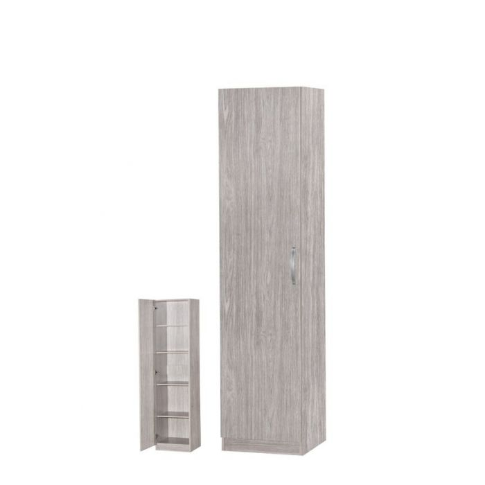 colonne de rangement 1 porte chene gris vesuve