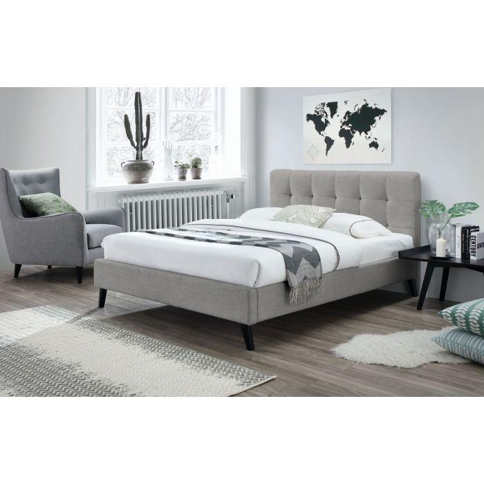 lit double 140 x 200 cm avec tete de lit et sommier tulipe gris