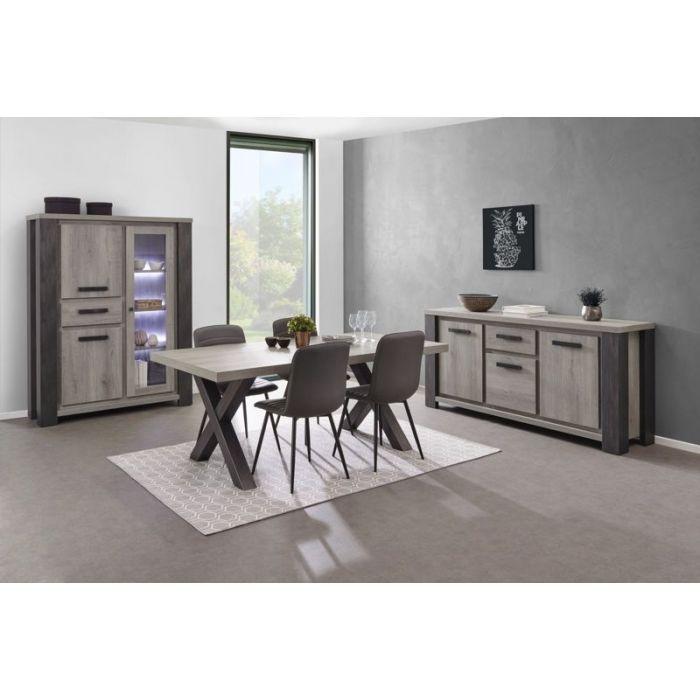 salle a manger moderne bahut vaisselier a led table chene gris lionel