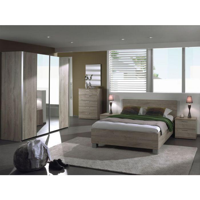chambre a coucher complete adulte armoire portes coulissantes dalia 140 x 200 cm