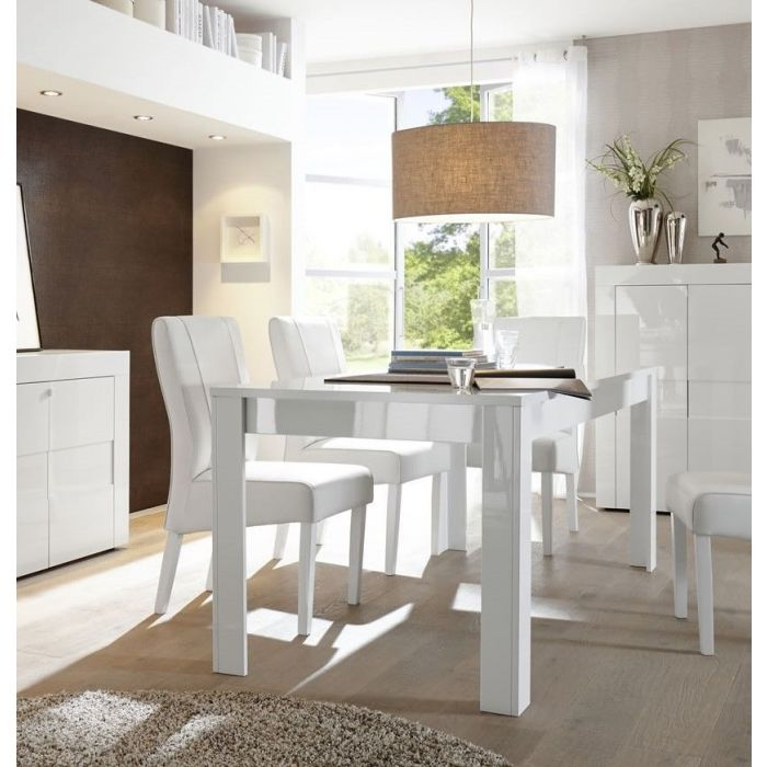 table de repas rectangulaire avec allonge blanc laque brillant turin