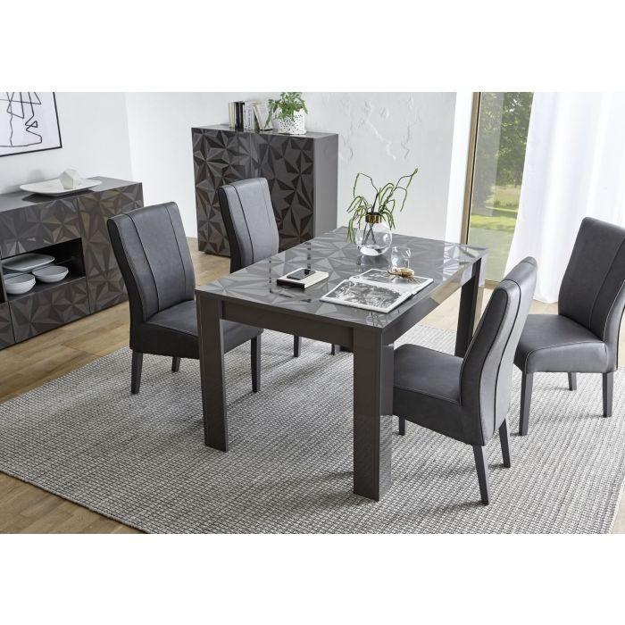 table de cuisine serigraphiee rectangulaire avec allonge laquee brillant palerme gris