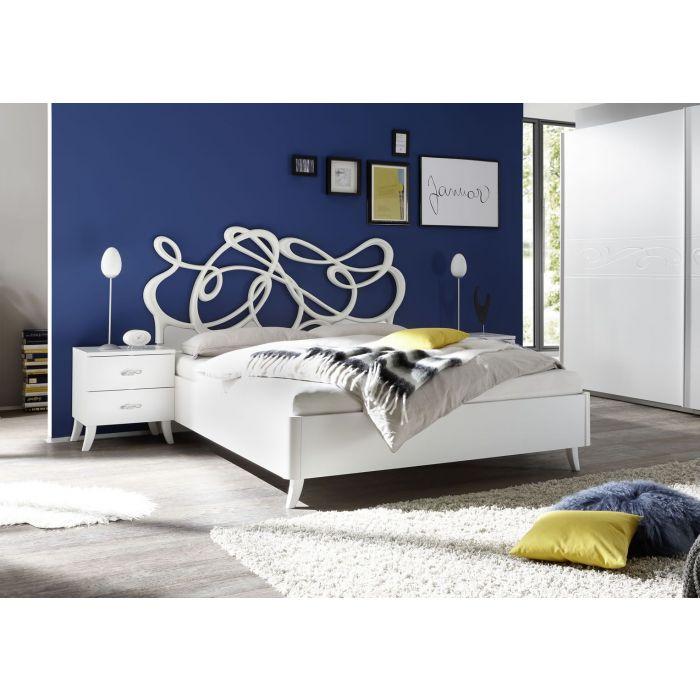 chambre complete adulte tete de lit design serigraphies lit 160 cm blanc martine