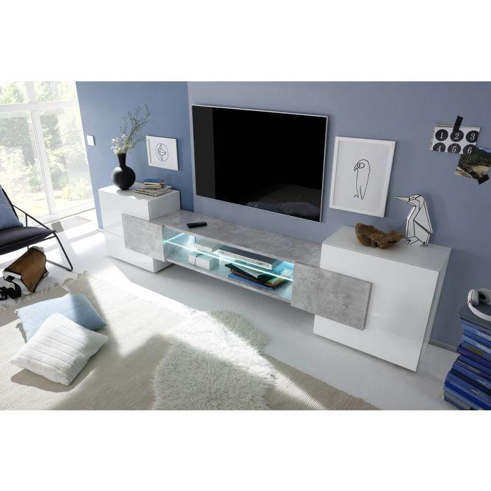 meuble tv design bandeau led castro blanc brillant et beton