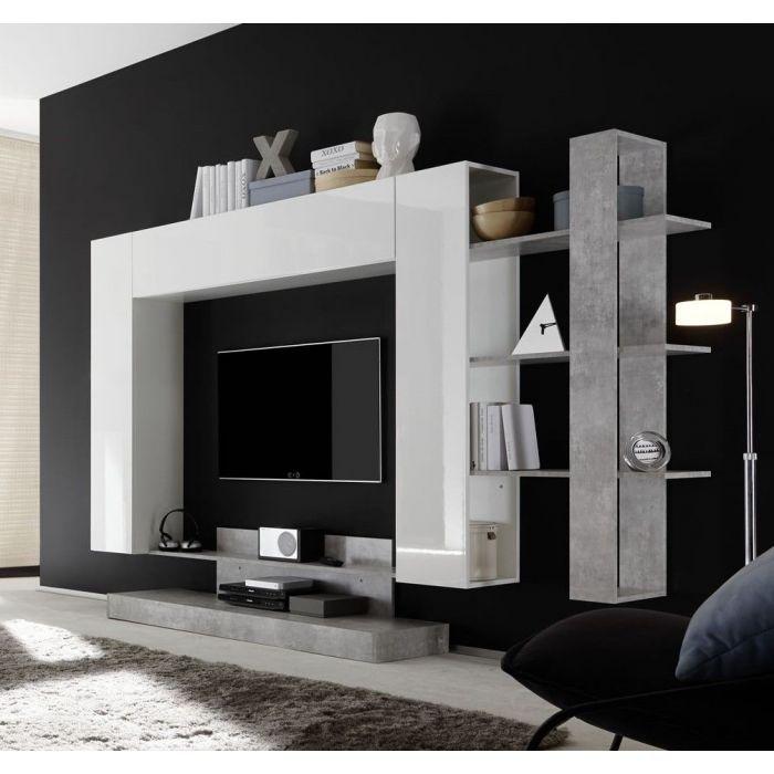 composition murale tv design forme carre nyce blanc laque et beton