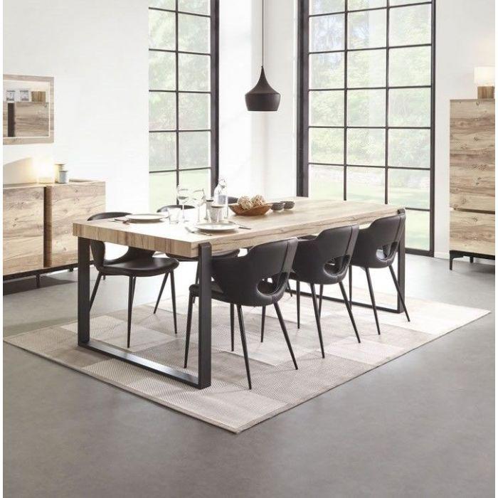 table de salle a manger design industriel 180 pieds metal barosse