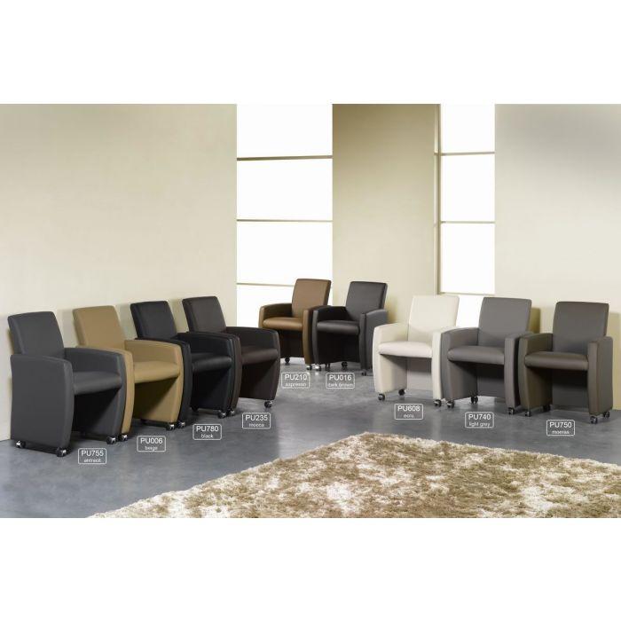 lot de 4 fauteuils de salle a manger a roulettes pu noir marbre
