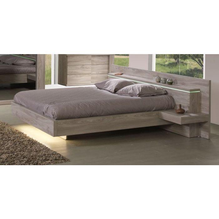 lit double 140 cm avec tete de lit chevets et bandeau led integres songa
