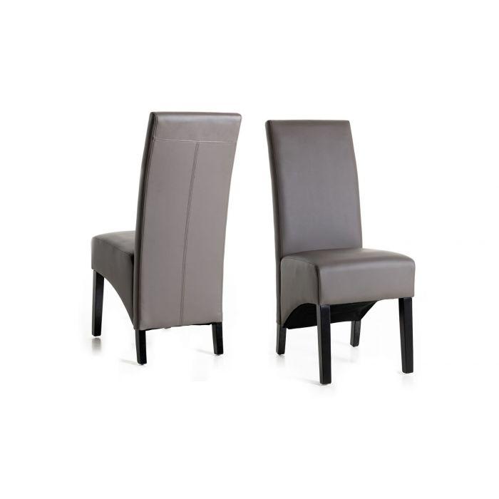lot de 2 chaises en pu gris avec dossier haut prins