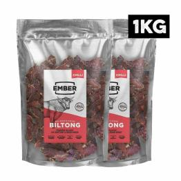 Ember Biltong 1KG Großbeutel - Beef Jerky Chili - Proteinreicher Snack - Chilli